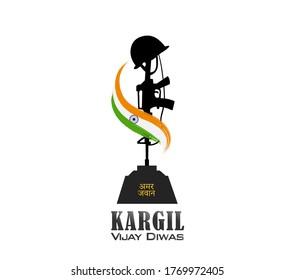 vector illustration of Kargil vijay diwas. Amar Jawan in hindi text of Amar Jawan. flag wrapping.
