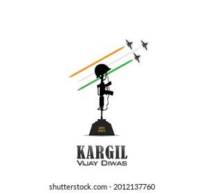 vector illustration of Kargil vijay diwas. Amar Jawan in hindi text of Amar Jawan.