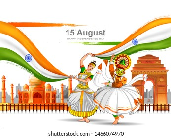 vector illustration of Kathakali dancer on Indian tricolor background for 15th August Happy Independence Day of India