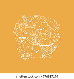 Vector illustration with kawaii doodle characters and flowers isolated on background.