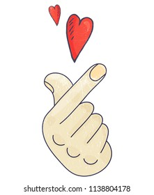 Vector illustration for K-drama and K-pop promotion. Korean Finger Heart Love sign.
