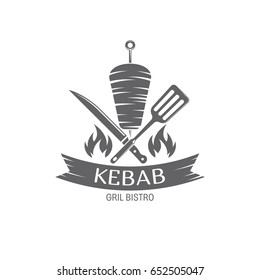 vector illustration Kebab badges, emblem on white background, for advertising and menu design / vector Kebab emblem