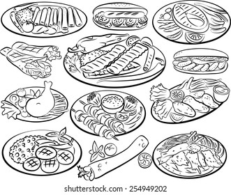 Vector illustration of kebab collection in line art mode