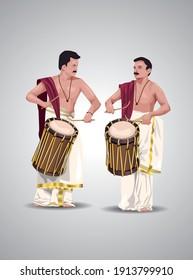 vector illustration of kerala chenda melam performance