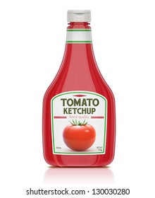 Vector illustration of ketchup bottle isolated on white background