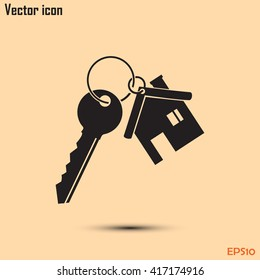 Vector illustration keychain from home