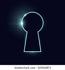 Vector illustration of keyhole silhouette, eps 10. Isolated on black background.