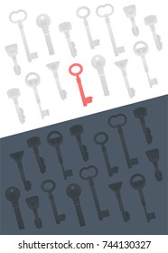 Vector Illustration of Keys. One Selected Key to Success.