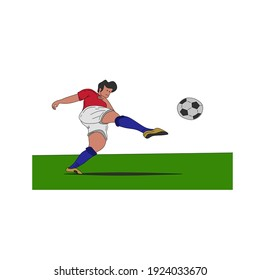 Vector illustration of kicking a ball