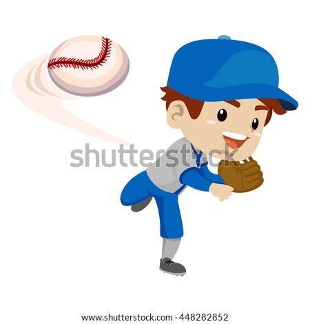 vector illustration kid boy baseball player stock vector royalty rh shutterstock com Baseball Bat Vector Baseball Silhouette Vector