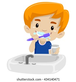 Vector Illustration of Kid Boy Brushing her teeth