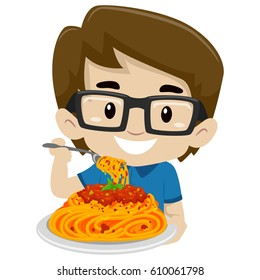 Vector Illustration of Kid Boy Eating Spaghetti