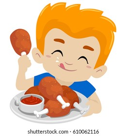 Vector Illustration of Kid Boy Eating Fried Chicken