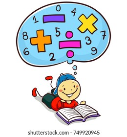 Vector Illustration of Kid Boy Reading Book about Mathematics