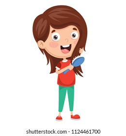 Vector Illustration Of Kid Brushing Hair