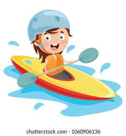 Vector Illustration Of Kid Canoeing