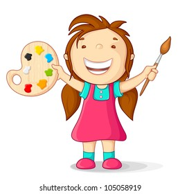 vector illustration of kid with color pallet and paint brush