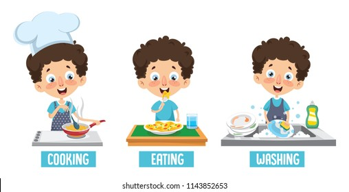 Vector Illustration Of Kid Cooking, Eating And Washing Dishes