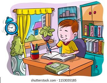 Vector illustration, kid doing homework, cartoon concept.