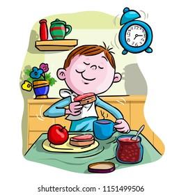 Vector illustration, kid eating breakfast, cartoon concept.
