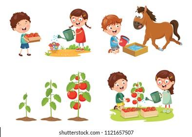 Vector Illustration Of Kid Farmer