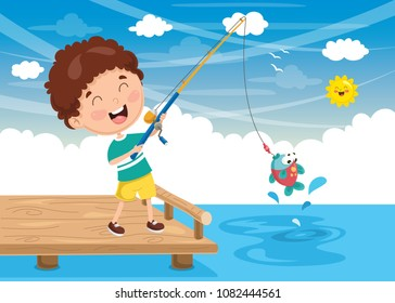 Vector Illustration Of Kid Fishing