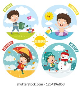 Vector Illustration Of Kid And Four Seasons