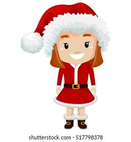 Vector Illustration of Kid Girl wearing Santa Claus Costume