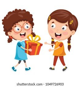 Vector Illustration Of Kid Giving Gift To Friend