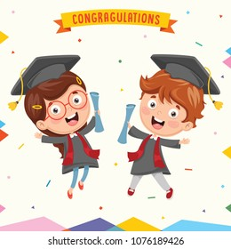 Vector Illustration Of Kid Graduating