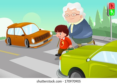 A vector illustration of kid helping senior lady crossing the street