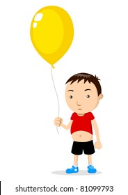 Vector illustration of a kid holding a balloon