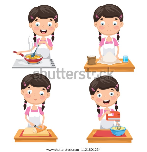 Vector Illustration Of Kid At Kitchen