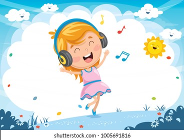 Vector Illustration Of Kid Listening Music