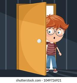 Vector Illustration Of Kid Opening  Door