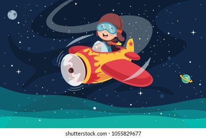 Vector Illustration Of Kid Operating Plane