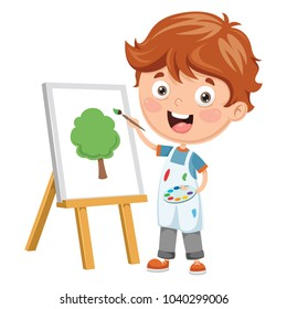 Vector Illustration Of A Kid Painting