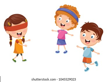 Vector Illustration Of Kid Playing Blind Mans Buff