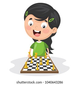 Vector Illustration Of A Kid Playing Chess