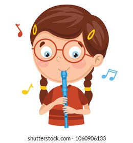 Vector Illustration Of Kid Playing Flute