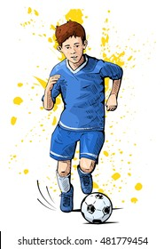 Vector illustration of a kid playing football. Beautiful sport themed poster. Boy running with the ball. Summer sports, healthy lifestyle, soccer youth league.