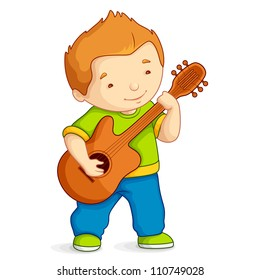 vector illustration of kid playing guitar against white background