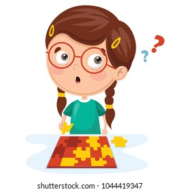 Vector Illustration Of Kid Playing Puzzle