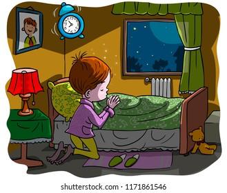 Vector illustration, kid praying at bedtime, cartoon concept.