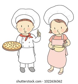 Vector illustration of kid professions, pizza chef & cook. What I want to be when grow up. Children occupations costume. Childhood development, education & learning concept. Cartoon character drawing.