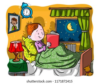 Vector illustration, kid reading at bedtime, cartoon concept.