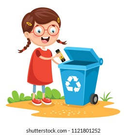 Vector Illustration Of Kid Recycling Battery