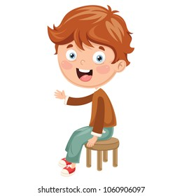 Vector Illustration Of Kid Sitting On Chair