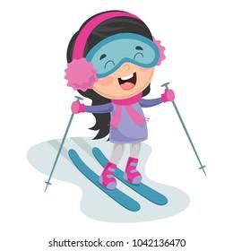 Vector Illustration Of Kid Skiing