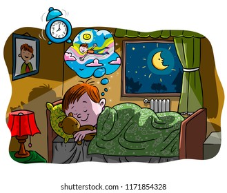 Vector illustration, kid sleeping and dreaming, cartoon concept.